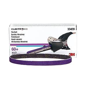 """Cubitron 3M 33439 II 3/8"""" x 13"""" File Belt - 10 Belts/Box"""