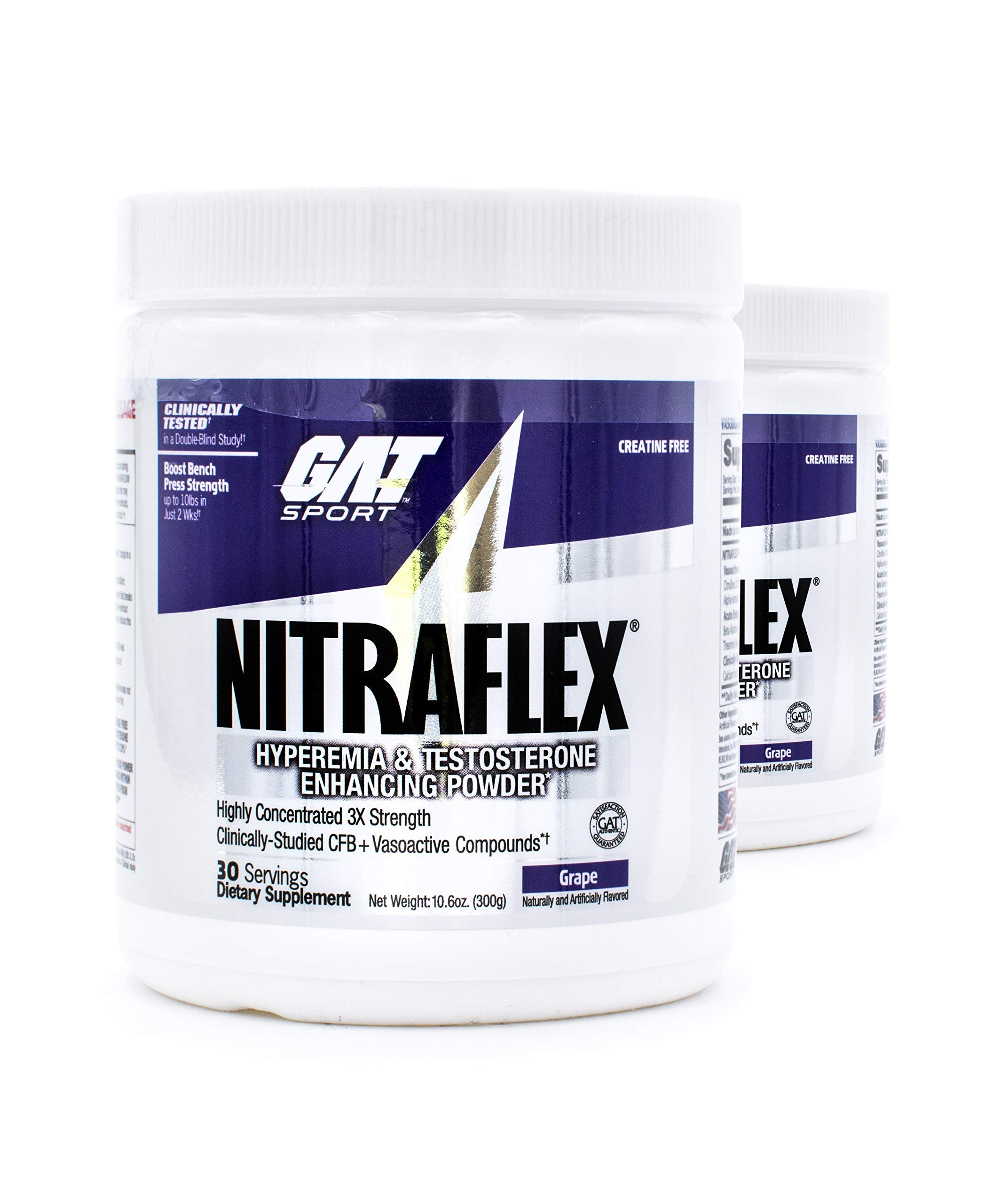 GAT Nitraflex Pre-Workout High-Intensity Training Formula 30 Servings (2-Pack) (Grape)
