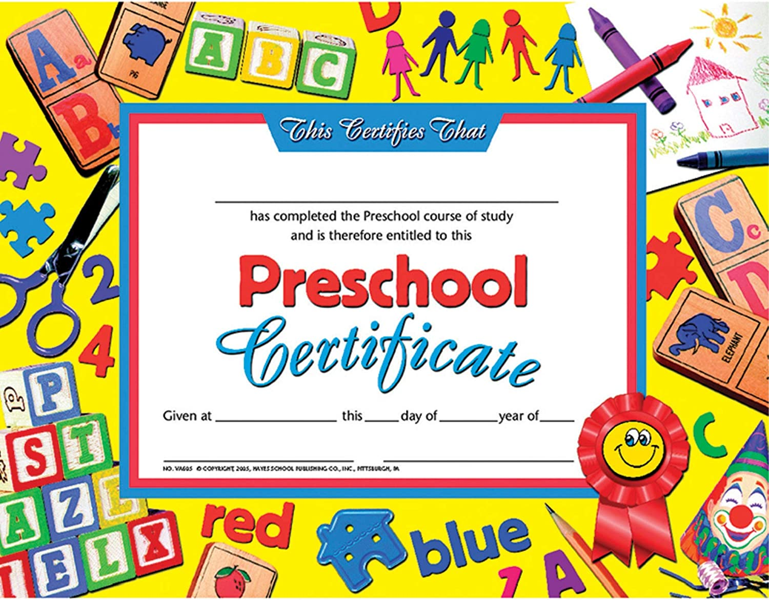 Amazon Com Hayes Preschool Certificate 8 5 X 11 Pack Of 30 Blank Business Gift Certificates Office Products