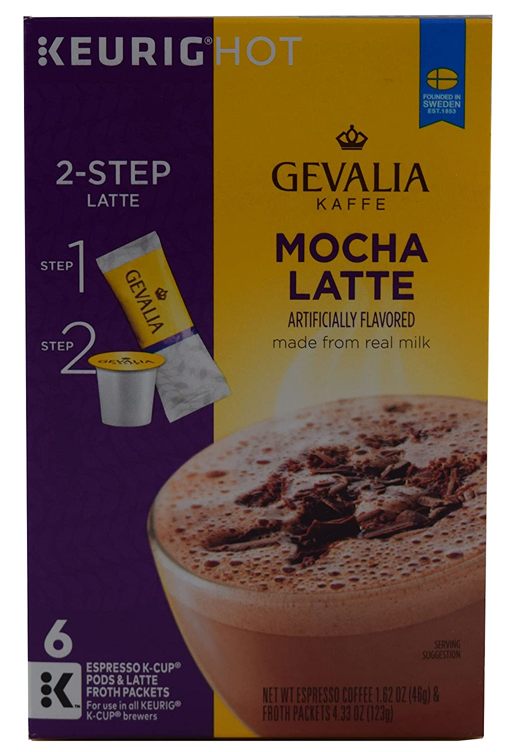 Gevalia, 2-Step K-Cup & Froth Packets, 6 Count, 5.6oz Box (Pack of 3) (Mocha Latte)