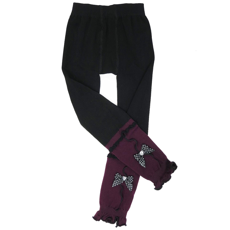 wenchoice Purple /& Black Bow Leggings Girls Girls