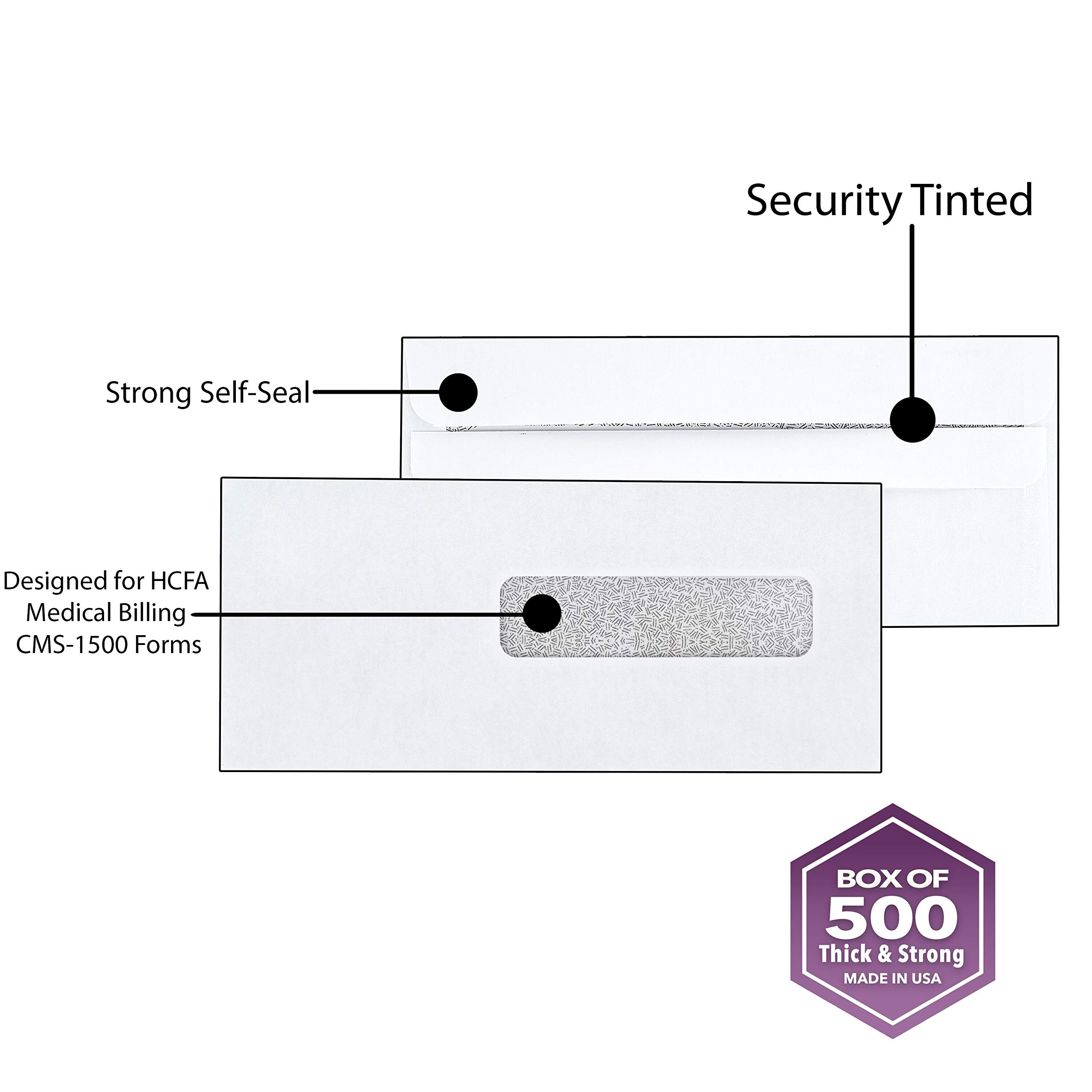 500 Claim Forms Envelopes, for Medical Billing Insurance Claim HCFA-1508, CMS-1500 Forms, Security Inside Tinted, Self-Seal Closure~Right Window Envelope~ 9 1/2'' X 4 1/8 Pack of 500 by SuitEase