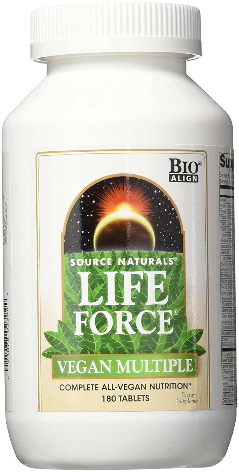 SOURCE NATURALS Life Force Vegan Multiple Tablet, 180 Count