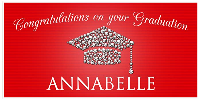 Amazon.com: Class Of 2017 Graduation Diamond Hat Red Banner ...