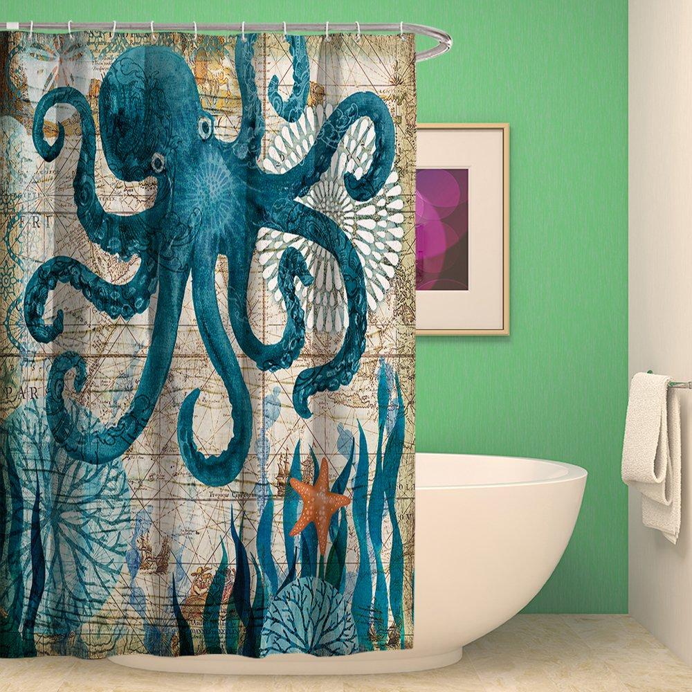 Amazon Shower Curtain Bathroom Waterproof Octopus With 12