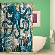 nancy123 Shower Curtain Bathroom Waterproof Octopus With 12 Hooks Mildew Resistant