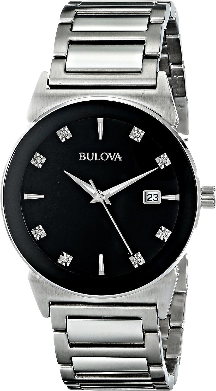Bulova Men s 40mm Stainless Steel Black Dial Diamond Watch