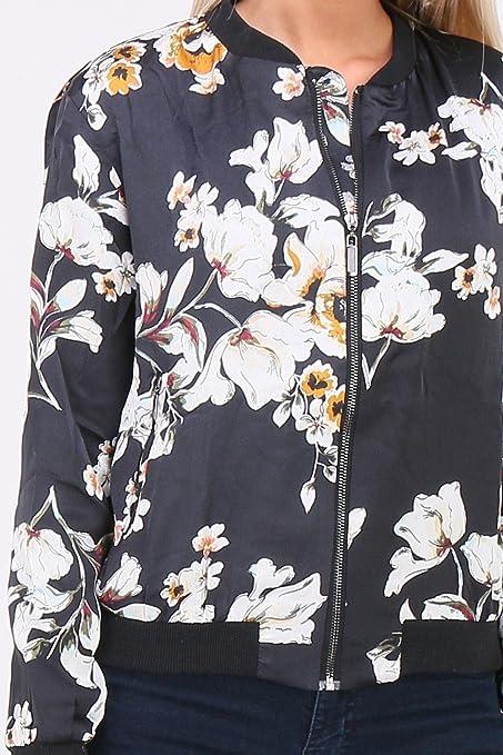 c6f2e087a7d2 QUEEN´S Leichte Damen BlousonJacke mit Blumenmuster Schwarz Kurz  Übergangsjacke Bomberjacke Blouson Sommer Paris  Amazon.de  Bekleidung