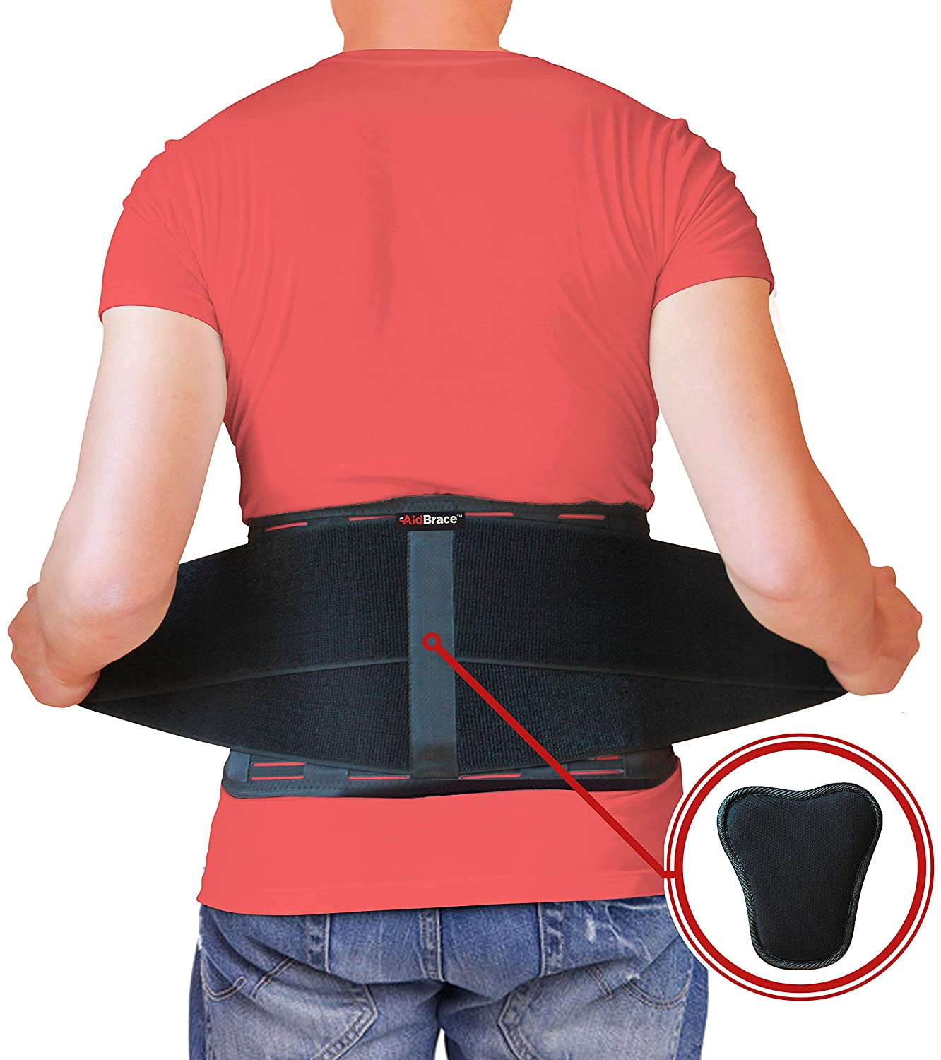 AidBrace Back Brace Support Belt - Lower Back Pain Relief for Herniated Disc, Sciatica, and Scoliosis for Men & Women - Includes Removable Lumbar Pad