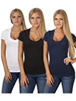 Emmalise Women's Deep V-Neck Short Sleeve T Shirts - Junior Sizes