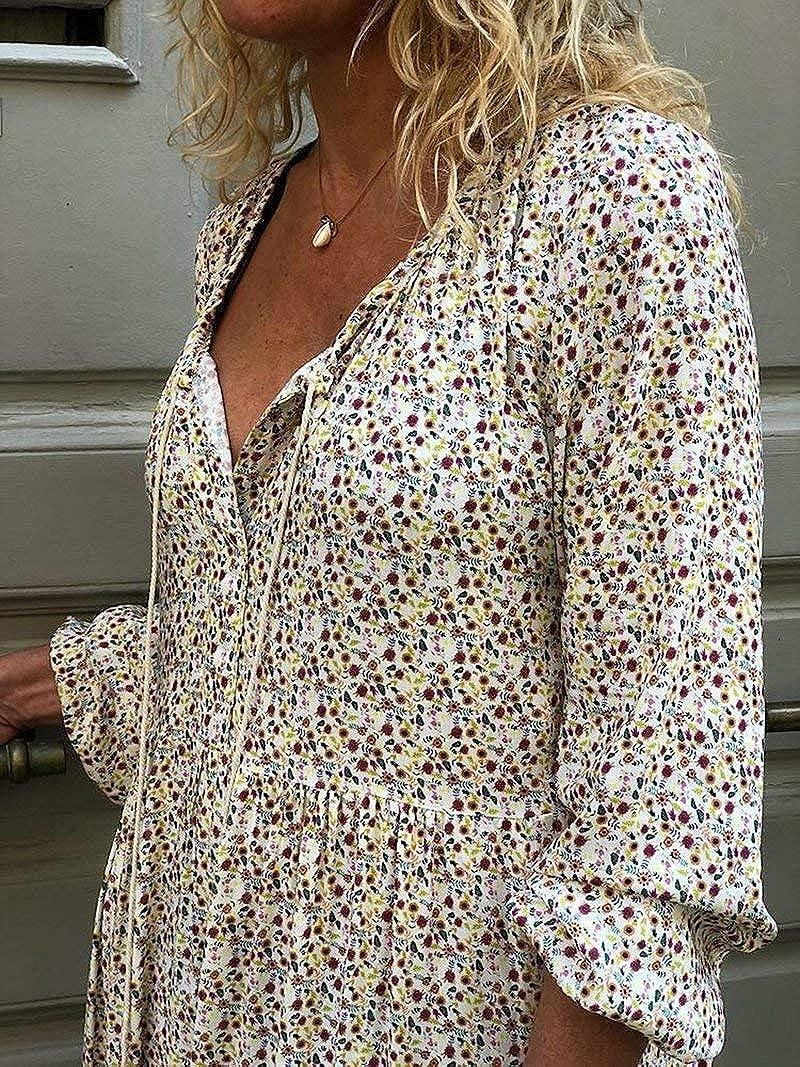 ORANDESIGNE Damen Maxikleid Lose Kleid V-Ausschnitt Langarm Vintage Boho Maxi Kleid Elegant Strandkleid Gro/ße Gr/ö/ßen Langes Blumenkleid