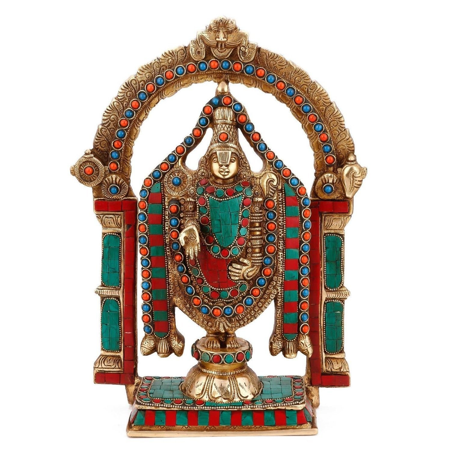 Aone India Lord Venkateswara as Tirupati Balaji Brass Statue + Cash Envelope (Pack Of 10)