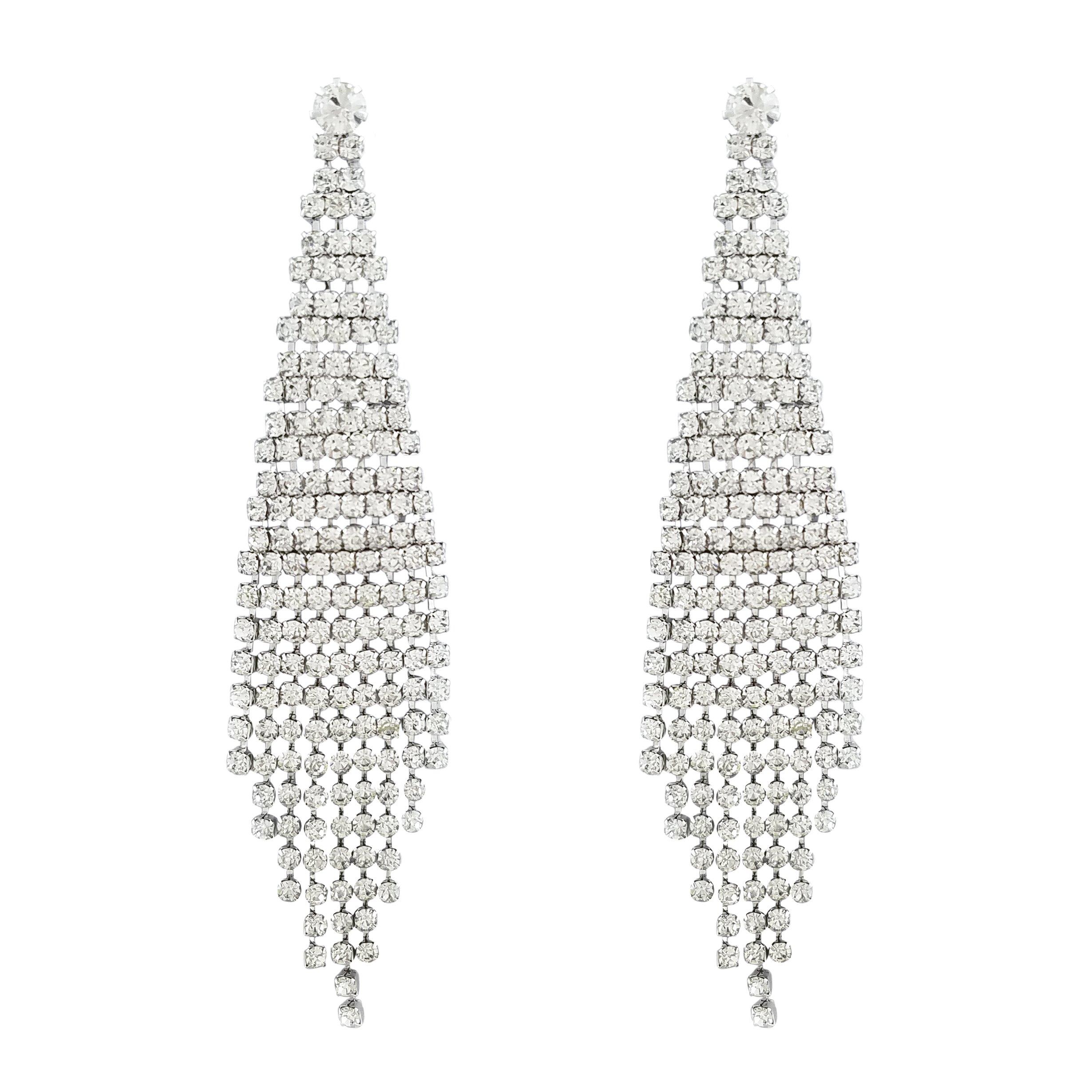 SELOVO Chandelier Dangle Dangly Chain Tassel Earrings Silver Tone Crystal xXP0Lc3hs9