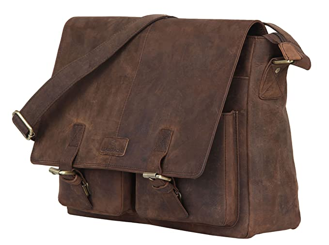 Leaderachi Hunter Leather Crossbody Messenger Bag Laptop Messenger & Shoulder Bags at amazon