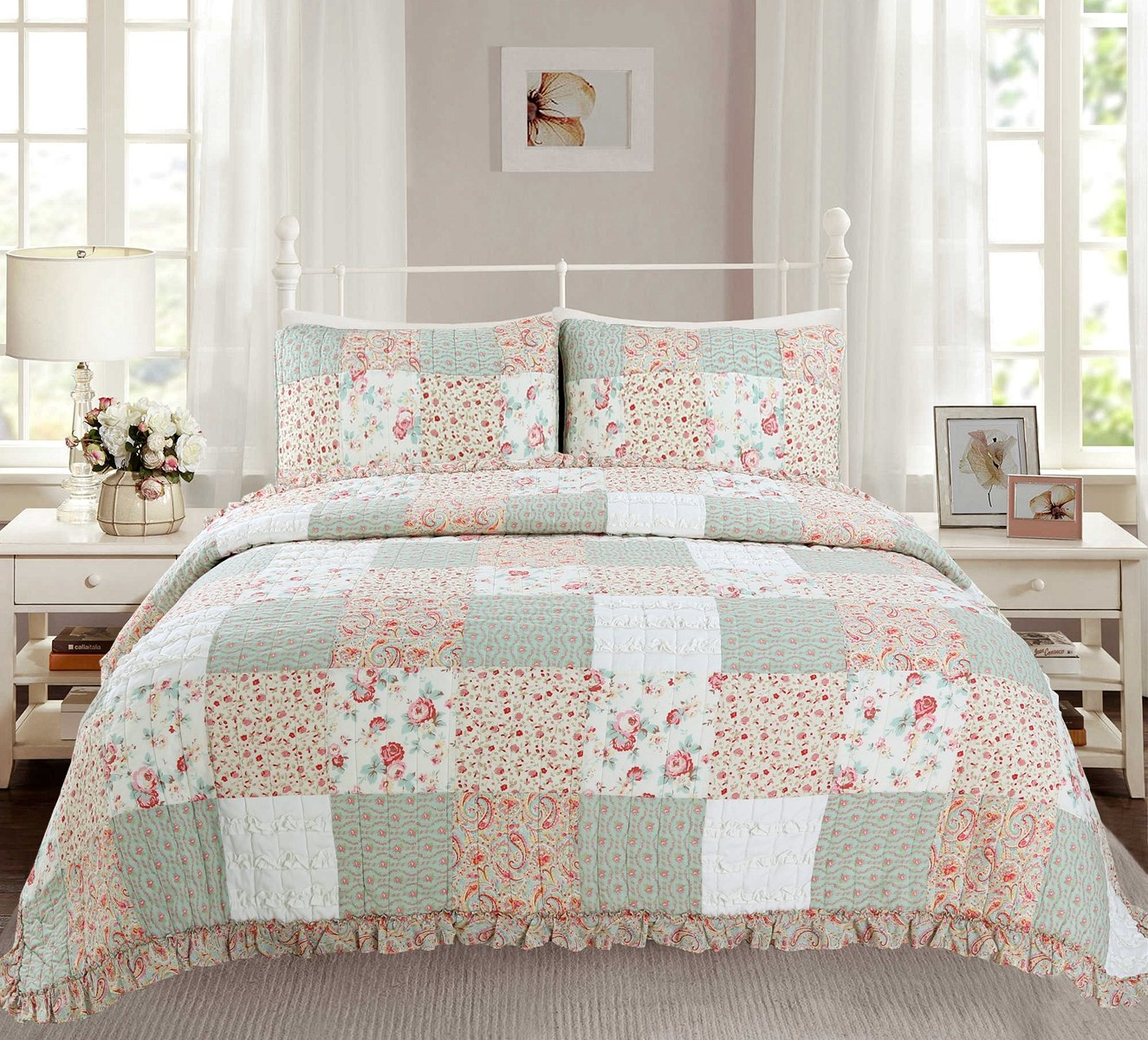 Cozy Line Home Fashions Dreamy Rose Bedding Quilt Set, Coral Tiffany Shabby Chic Lace Floral Real Patchwork 100% Cotton Reversible Coverlet, Bedspread, Gifts for Girls Women (King - 3 Piece)