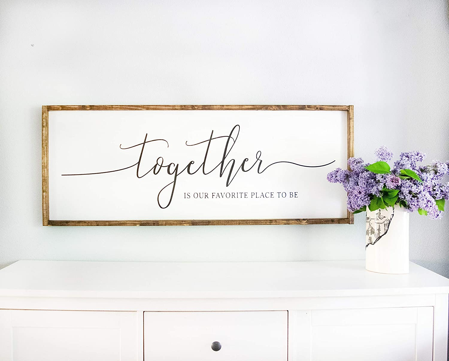 Amazon Com Bedroom Signs Framed White Together Is Our Favorite Place To Be Sign Master Wall Decor Above Bed Rustic Farmhouse Handmade