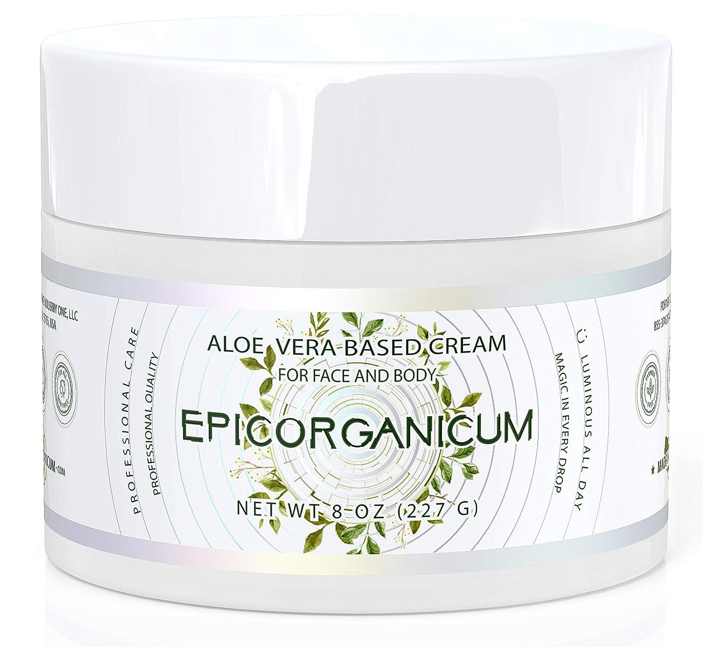 Organic Aloe Vera Moisturizing Cream - 8 oz. Body and Face Moisturizer For Acne