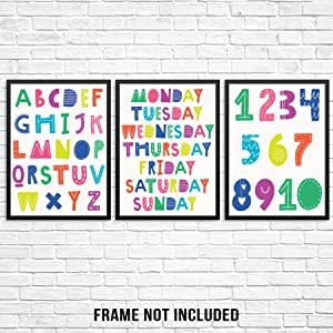 "Kids Bedroom Bathroom Wall Decor Poster Art Print Set - Children's Scandinavian ABCs Alphabet Numbers Days of Week -11""x14"" UNFRAMED- Boy Girl Playroom Nursery Preschool Educational (COLOR SET OF 3)"