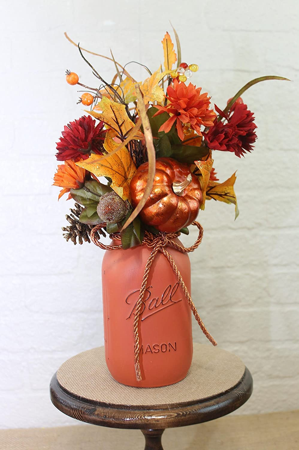 Fall Pumpkin Patch Quart Mason Jar Floral Arrangement