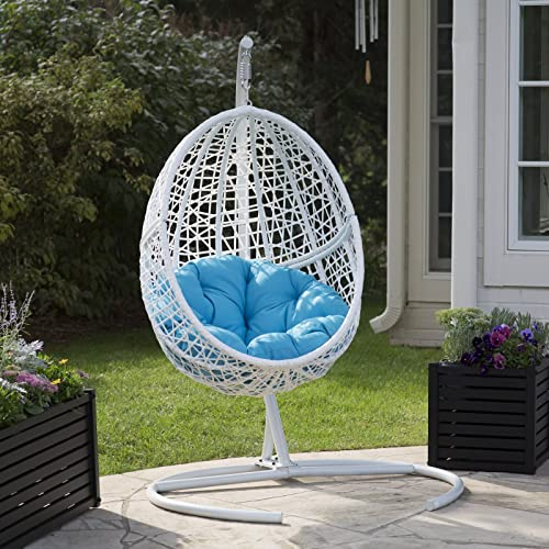 White Resin Wicker Hanging Egg Chair w Stand Outdoor Patio Includes Blue Cushion