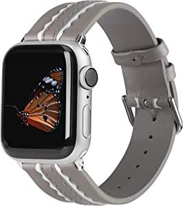 Wearlizer Genuine Leather Bands Compatible for Apple Watch 38mm 40mm, Soft Two Stripe with Wide Women Wristband Strap Replacement and Silver Adapter for iWatch Series 6 5 4 3 2 1(Grey and White)