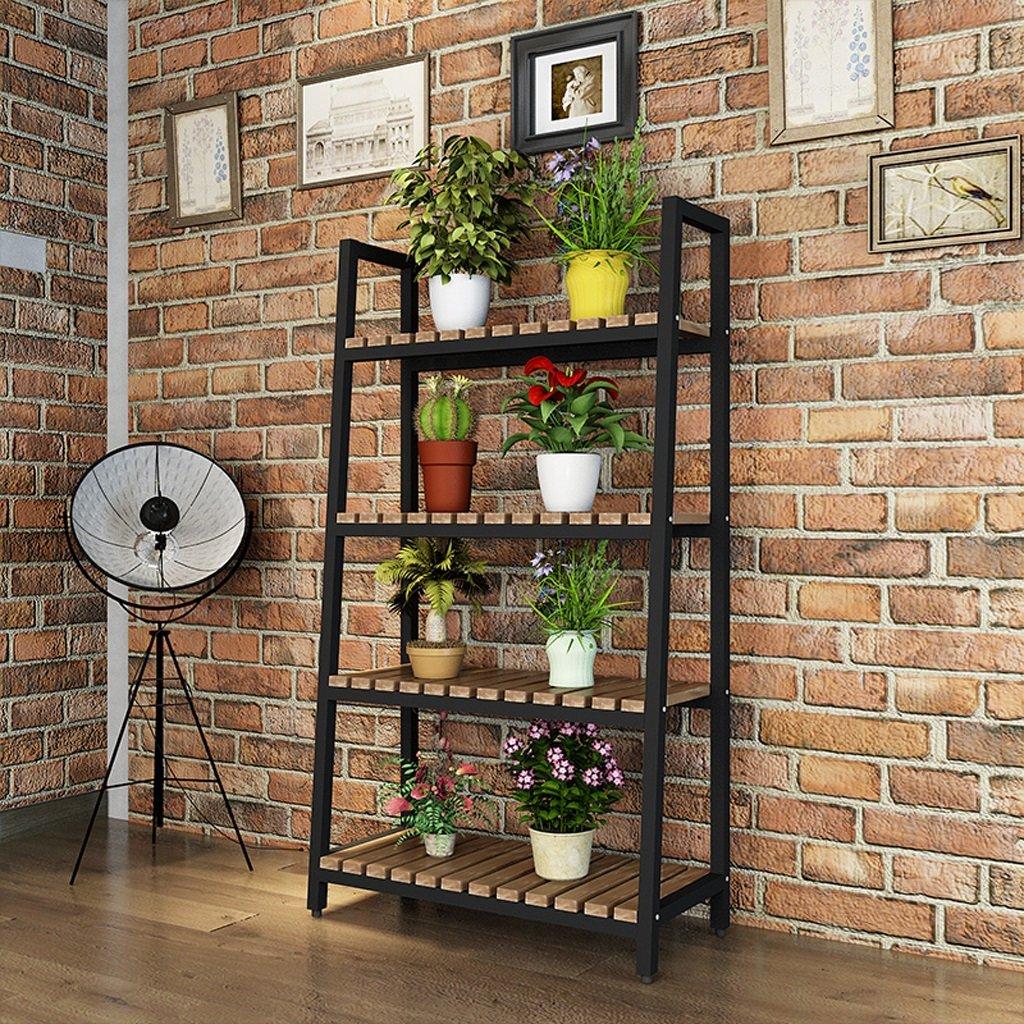 Iron Flower Rack Indoor Floor Plant Balcony Living Room Shelf 4 Layer ( Color : Black ) by LITINGMEI Flower rack
