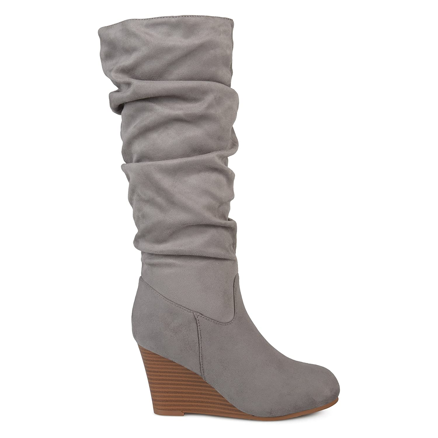 3187359df4d6f Womens Regular and Wide Calf Slouchy Faux Suede Mid-Calf Wedge Boots Grey,  7.5 Regular US | Mid-Calf