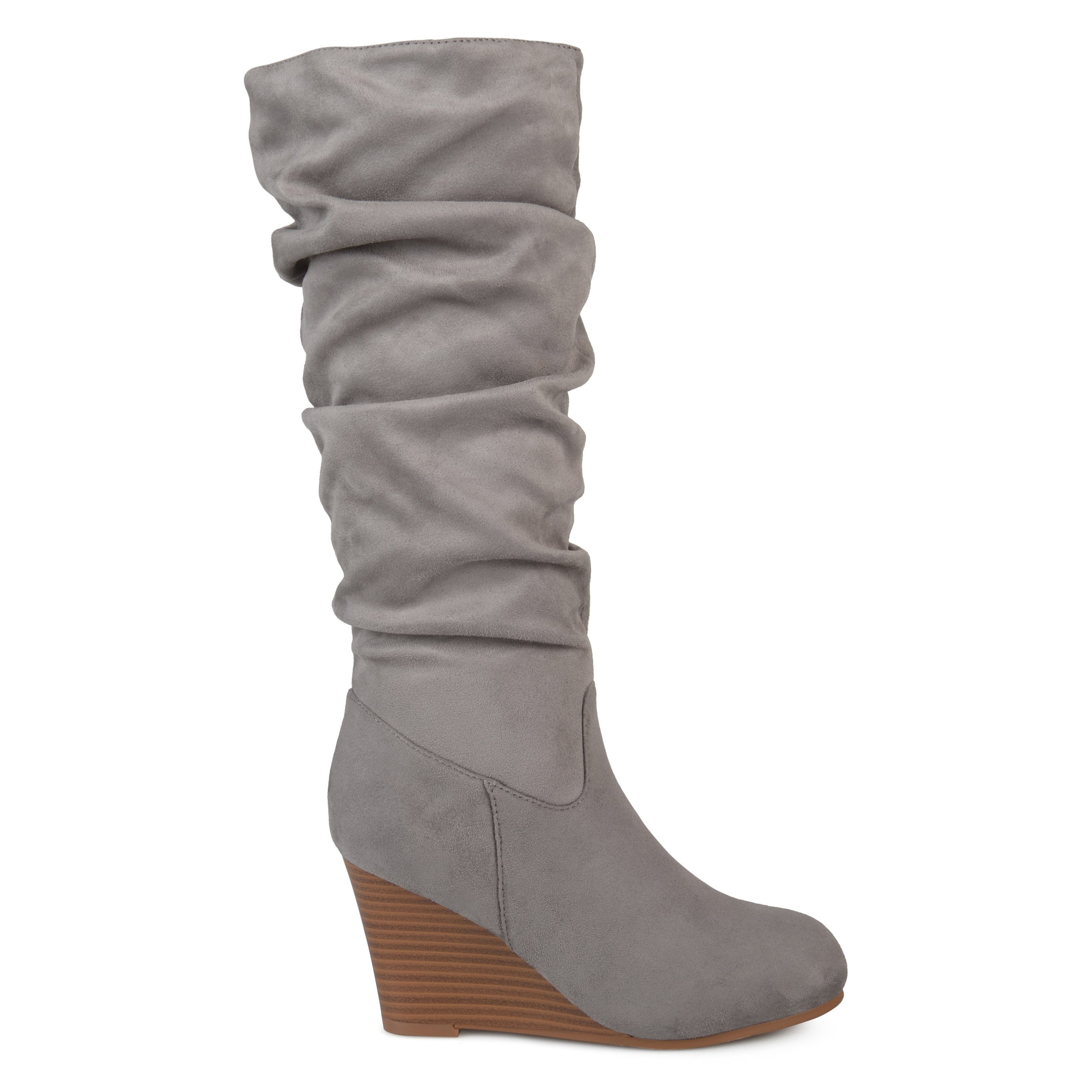 Brinley Co Womens Regular and Wide Calf Slouchy Faux Suede Mid-Calf Wedge Boots Grey, 9 Wide Calf US