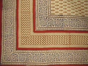 Bagru Block Print Cotton Tablecloth 90u0026quot; X 60u0026quot; ...