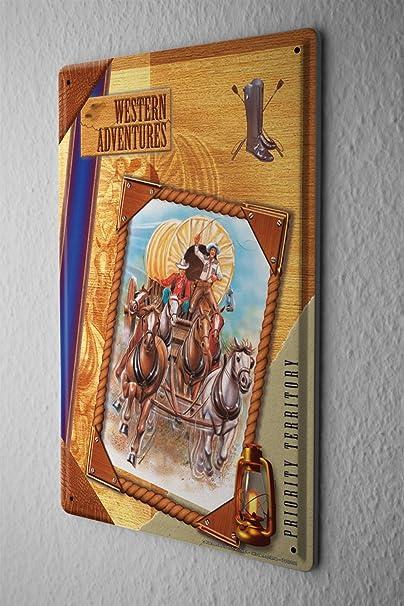 Blechschild Usa Ureinwohner Western Abenteuer Kutsche Metall Deko