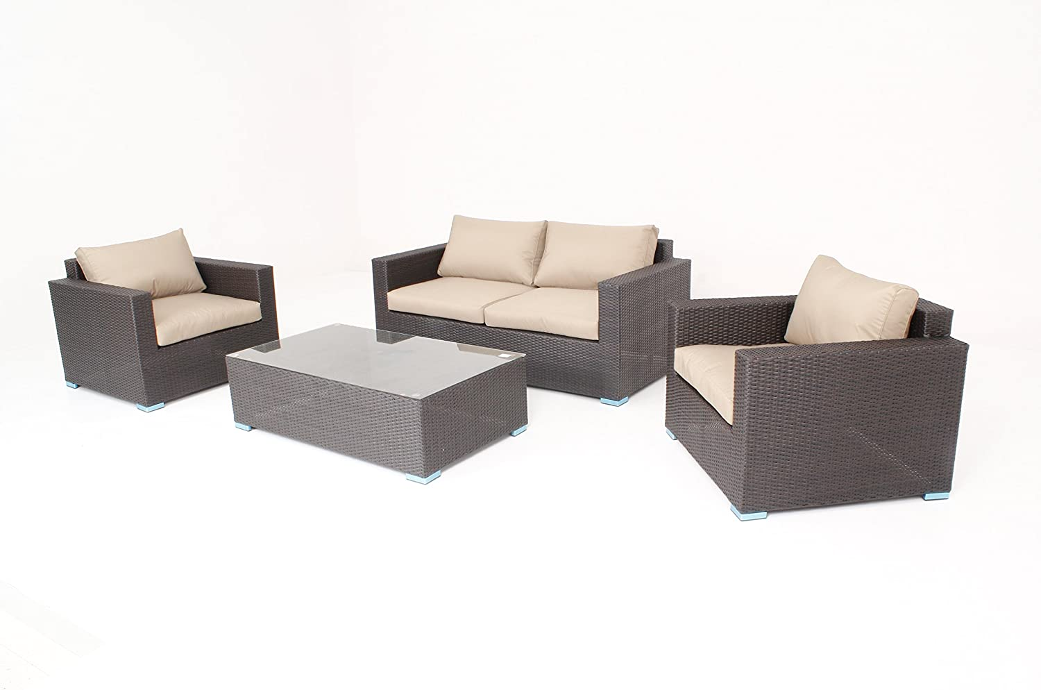 husen 4pcs Luxury Wicker Patio Sectional Indoor Outdoor Sofa Furniture Set T017a