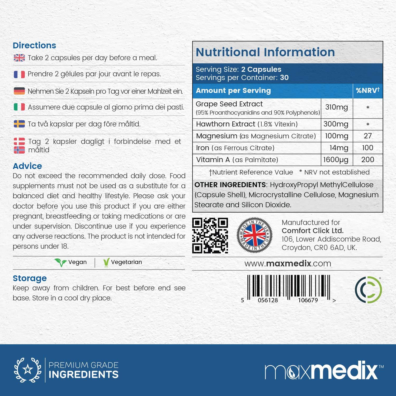 MaxMedix PressureX - Suplemento Para Mantener Saludable La Presión Sanguínea - Equilibra La Presión Sanguínea Y Arterial - Suplemento Natural - 60 Cápsulas: ...