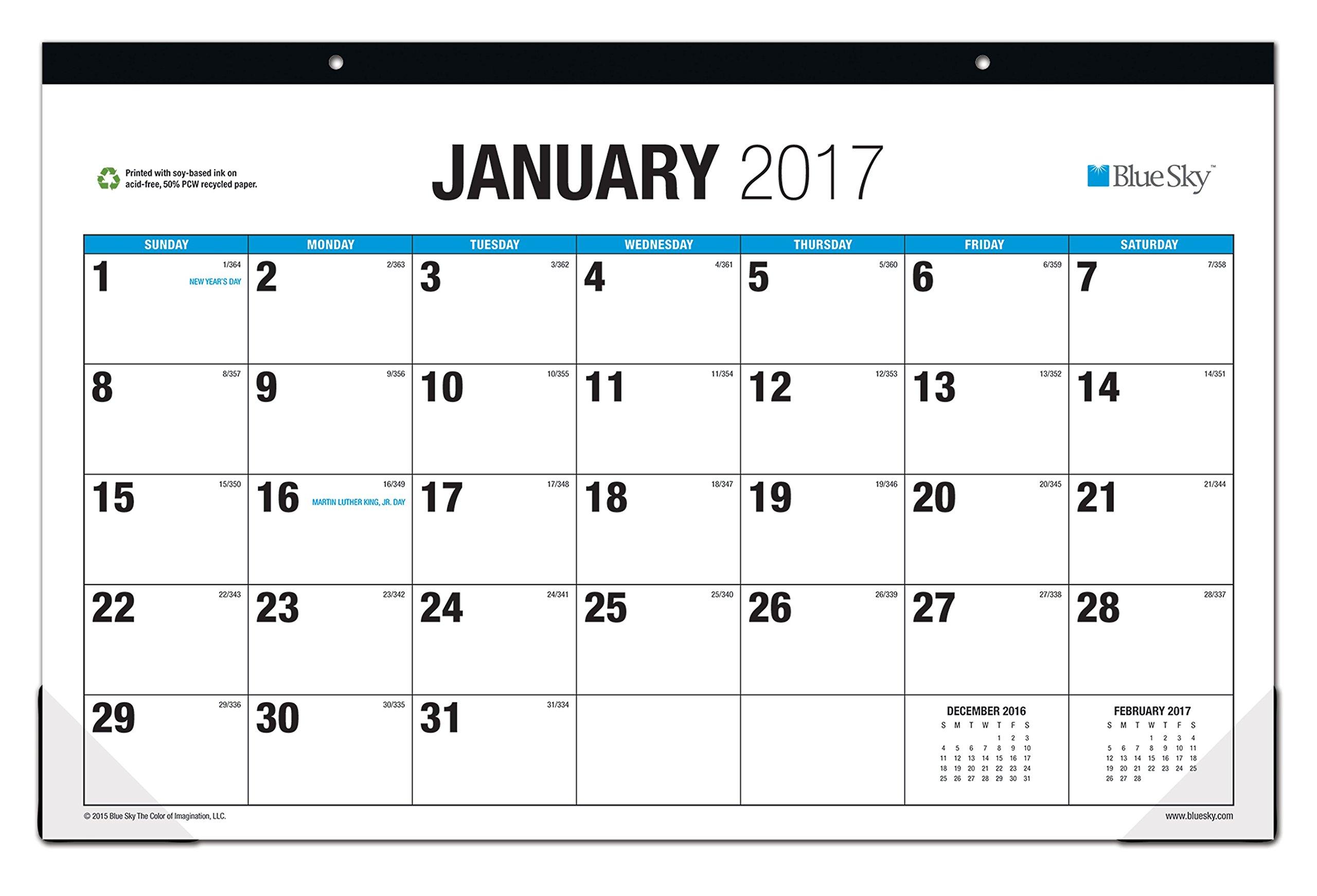 Blue Sky 2017 Monthly Desk Pad Calendar, 17'' x 11'', Classic (19583)