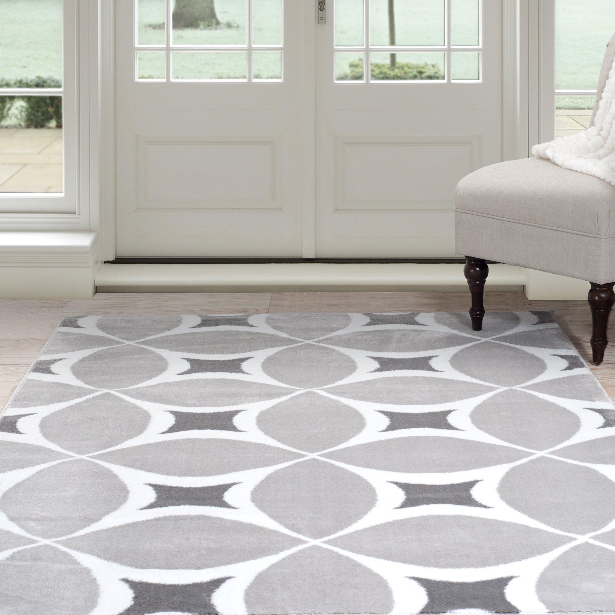 Lavish Home Geometric Area Rug, 4' by 6', Grey/White