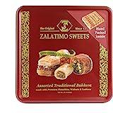 Zalatimo Sweets Since 1860, 100% All-Natural Assorted Baklava, Square Metal Gift Tin, No Preservatives, No Additives, No Corn