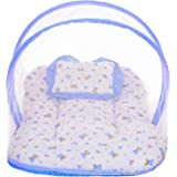 Littly Dual Color Bedding Set with Foldable Mattress, Mosquito Net and Pillow (Blue)