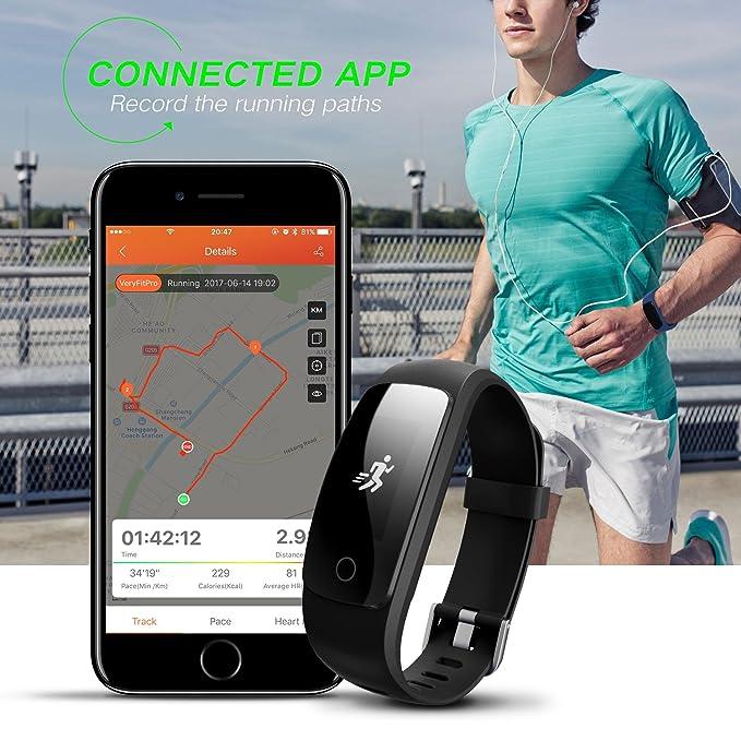 runme Fitness Tracker Reloj pulsómetro con, IP67 Resistente al Agua rastreador de Actividad con Monitor de sueño, Bluetooth Pulsera podómetro con ...