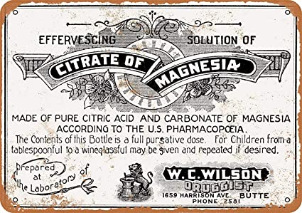 Amazon com: YFULL 8 x 12 Metal Sign - 1900 Citrate Magnesia