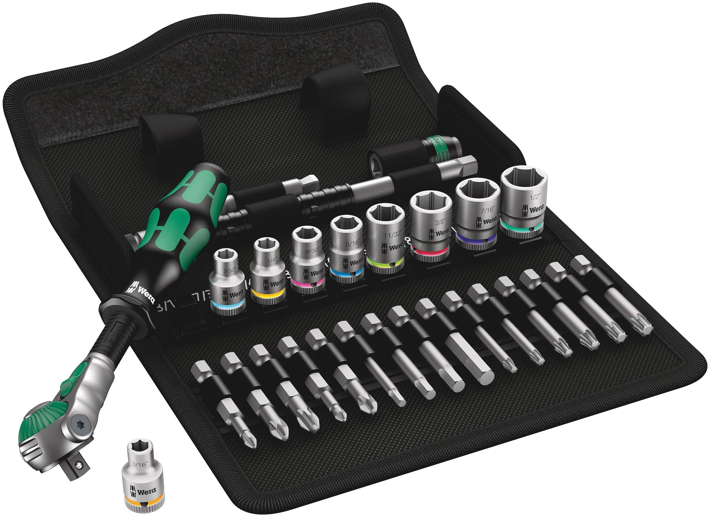 Wera 5004019001 Zyklop 8100 SA9 1/4'' Drive Metal-Speed Multi-Function Ratchet & Socket Set (28Piece)