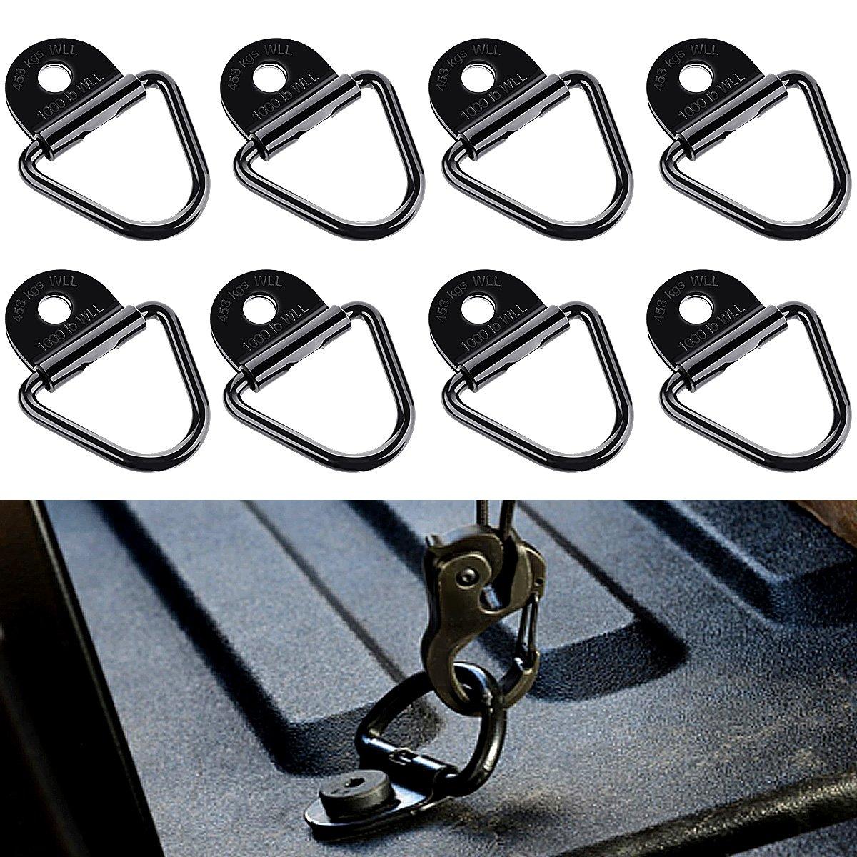 Audew Crochet V-Ring pour sécuriser Les Charges sur Les Voitures, Les Kayaks et Les pendentifs, avec Support, 3,15 * 2,28 in Lot de 8 AUDEWfejfhbleiw103