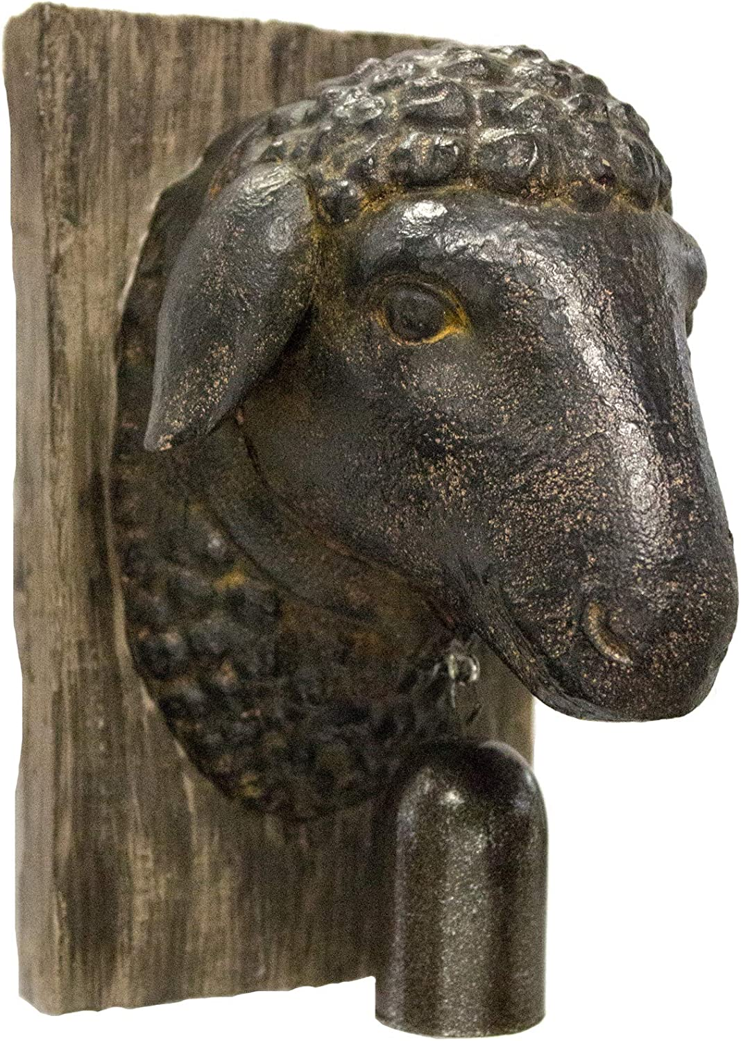 Sagebrook Home 11141 Sheep Head W/Bell Wall Plaque, Rust Polyresin, 5.75 x 4.5 x 7.5 Inches