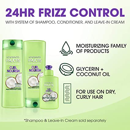 Garnier Fructis Curl Nourish Paraben-free Conditioner Infused with Coconut Oil and Glycerin, System for 24 Hour Frizz-Resistant Curls, 12 fl. oz., ...