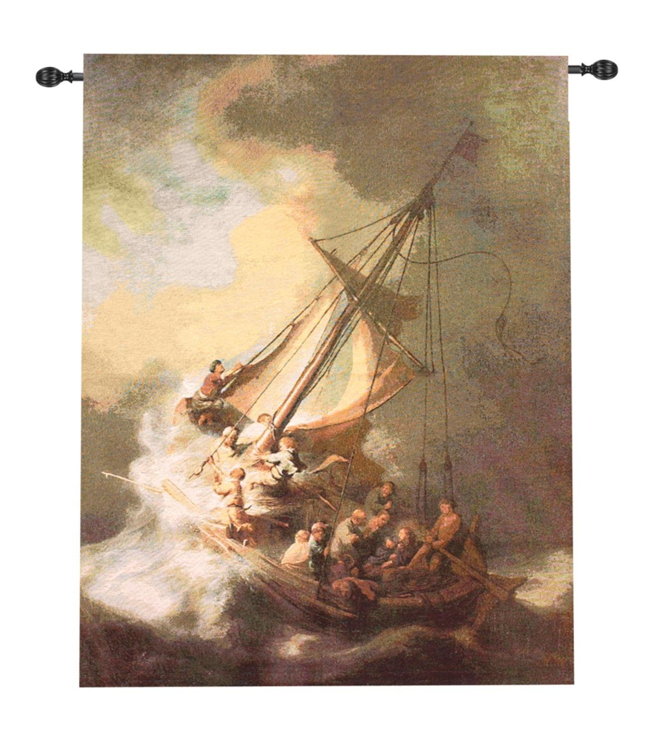 Religious Christ Calming the Storm Wall Hanging Tapestry 38'' x 49''