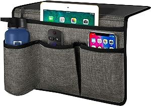 Joywell Bedside Storage Organizer, Bedside Caddy Remote Control Holder for Bed, 4 Pockets Bedside Organizer Insert Mattress for Remote Control, Phone, Magazine, iPad, Tablet, Grey