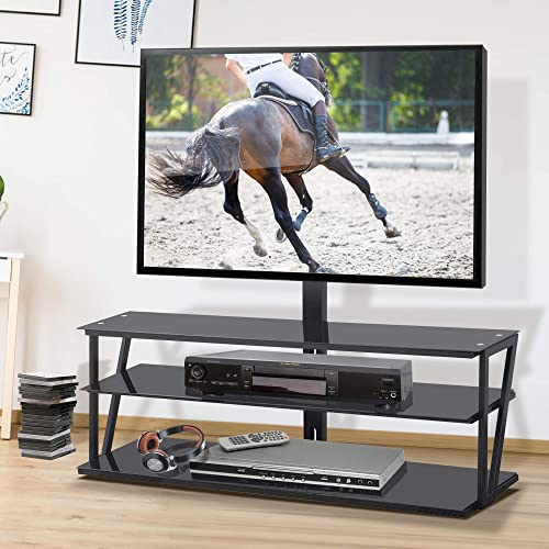 SSLine Universal Swivel TV Stand, Floor TV Stand Suit for 32-65 inch TVs Multi-Function Angle and Height Adjustable Tempered Glass TV Stand, 60 W x 17.3 D x 49.2 H, Black