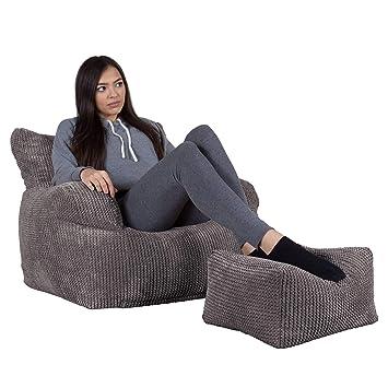 Lounge Pug®, Puff Sillón con Escabel, Pompón - Carbón Gris ...