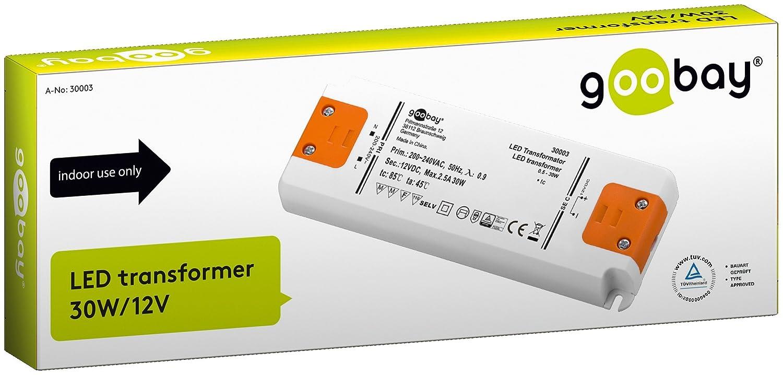 LED-Transformator 230V (AC) auf 12V (DC) für 0, 5 bis 30 Watt LED ...