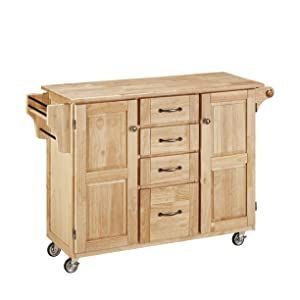 Create-a-Cart Natural 2 Door Kitchen Cart with Natural Wood Top and Home Styles