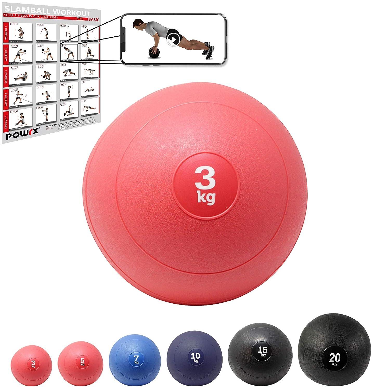 POWRX Slam Ball Balón Medicinal 3-20 kg - Ideal para Ejercicios de ...