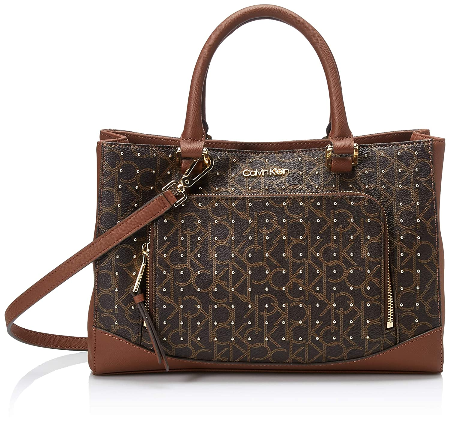 38d0750f74a Amazon.com: Calvin Klein Hudson Monogram Studded East/West Satchel, Brown  Khaki: Clothing